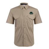 Khaki Short Sleeve Performance Fishing Shirt-Binghamton University Bearcats Official Logo