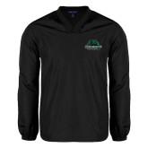 V Neck Black Raglan Windshirt-Binghamton University Bearcats Official Logo