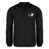 V Neck Black Raglan Windshirt-Bearcat Head w/ B