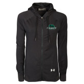 Ladies Under Armour Black Varsity Full Zip Hoodie-Binghamton University Bearcats Official Logo