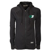 Ladies Under Armour Black Varsity Full Zip Hoodie-Bearcat Head w/ B