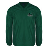V Neck Dark Green Raglan Windshirt-Binghamton University Bearcats Official Logo