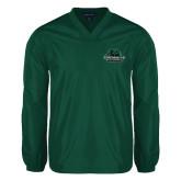 V Neck Dark Green Raglan Windshirt-Binghamton University Bearcats Official Logo