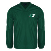V Neck Dark Green Raglan Windshirt-Bearcat Head w/ B