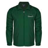 Full Zip Dark Green Wind Jacket-Binghamton University Bearcats Official Logo