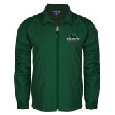 Full Zip Dark Green Wind Jacket-Binghamton University Bearcats Official Logo