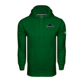 Under Armour Dark Green Performance Sweats Team Hoodie-Binghamton University Bearcats Official Logo