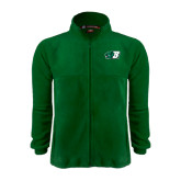 Fleece Full Zip Dark Green Jacket-Bearcat Head w/ B