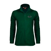 Ladies Fleece Full Zip Dark Green Jacket-Binghamton University Bearcats Official Logo