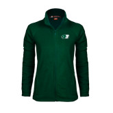 Ladies Fleece Full Zip Dark Green Jacket-Bearcat Head w/ B
