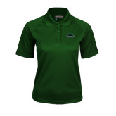 Ladies Dark Green Textured Saddle Shoulder Polo-Binghamton University Bearcats Official Logo