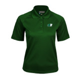 Ladies Dark Green Textured Saddle Shoulder Polo-Bearcat Head w/ B