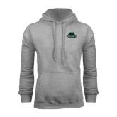 Grey Fleece Hoodie-Binghamton University Bearcats Official Logo