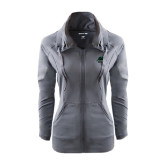 Ladies Sport Wick Stretch Full Zip Charcoal Jacket-Binghamton University Bearcats Official Logo