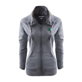 Ladies Sport Wick Stretch Full Zip Charcoal Jacket-Bearcat Head w/ B