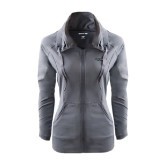 Ladies Sport Wick Stretch Full Zip Charcoal Jacket-Binghamton University Flat