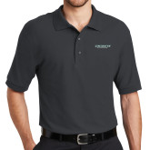 Charcoal Easycare Pique Polo-Binghamton University Flat