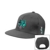 Charcoal Flat Bill Snapback Hat-Bearcat Head