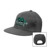 Charcoal Flat Bill Snapback Hat-Binghamton University Bearcats Official Logo