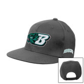Charcoal Flat Bill Snapback Hat-Bearcat Head w/ B