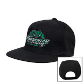 Black Flat Bill Snapback Hat-Binghamton University Bearcats Official Logo