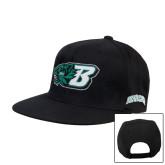 Black Flat Bill Snapback Hat-Bearcat Head w/ B