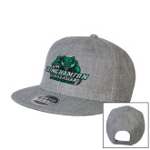 Heather Grey Wool Blend Flat Bill Snapback Hat-Binghamton University Bearcats Official Logo