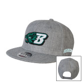 Heather Grey Wool Blend Flat Bill Snapback Hat-Bearcat Head w/ B