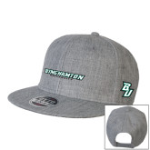 Heather Grey Wool Blend Flat Bill Snapback Hat-Binghamton University Flat