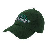 Dark Green Twill Unstructured Low Profile Hat-Binghamton University Bearcats Official Logo