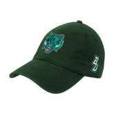 Dark Green Twill Unstructured Low Profile Hat-Bearcat Head