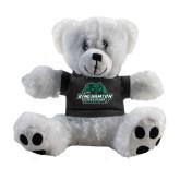 Plush Big Paw 8 1/2 inch White Bear w/Black Shirt-Binghamton University Bearcats Official Logo