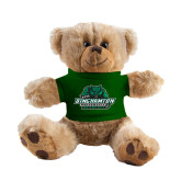 Plush Big Paw 8 1/2 inch Brown Bear w/Dark Green Shirt-Binghamton University Bearcats Official Logo