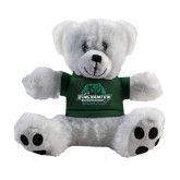 Plush Big Paw 8 1/2 inch White Bear w/Dark Green Shirt-Binghamton University Bearcats Official Logo