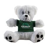 Plush Big Paw 8 1/2 inch White Bear w/Dark Green Shirt-Binghamton University Bearcats Official Logo