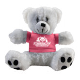 Plush Big Paw 8 1/2 inch White Bear w/Pink Shirt-Binghamton University Bearcats Official Logo