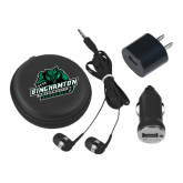 3 in 1 Black Audio Travel Kit-Binghamton University Bearcats Official Logo