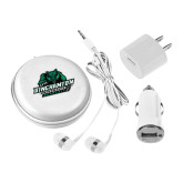 3 in 1 White Audio Travel Kit-Binghamton University Bearcats Official Logo