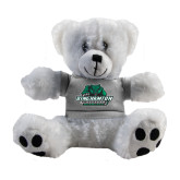 Plush Big Paw 8 1/2 inch White Bear w/Grey Shirt-Binghamton University Bearcats Official Logo