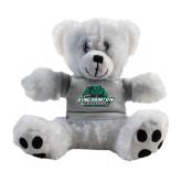 Plush Big Paw 8 1/2 inch White Bear w/Grey Shirt-Binghamton University Bearcats Official Logo