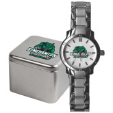 Mens Stainless Steel Fashion Watch-Binghamton University Bearcats Official Logo