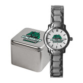 Ladies Stainless Steel Fashion Watch-Binghamton University Bearcats Official Logo