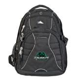 High Sierra Swerve Black Compu Backpack-Binghamton University Bearcats Official Logo