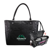 Sophia Checkpoint Friendly Black Compu Tote-Binghamton University Bearcats Official Logo