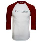 White/Maroon Raglan Baseball T Shirt-Baker and Taylor