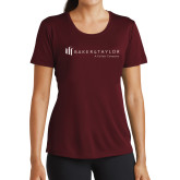Ladies Performance Maroon Tee-Baker and Taylor