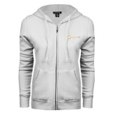 ENZA Ladies White Fleece Full Zip Hoodie-Collection HQ