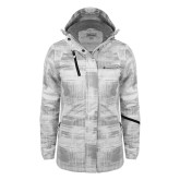 Ladies White Brushstroke Print Insulated Jacket-Baker and Taylor