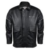 Black Leather Bomber Jacket-Baker and Taylor