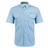 Light Blue Short Sleeve Performance Fishing Shirt-Baker and Taylor